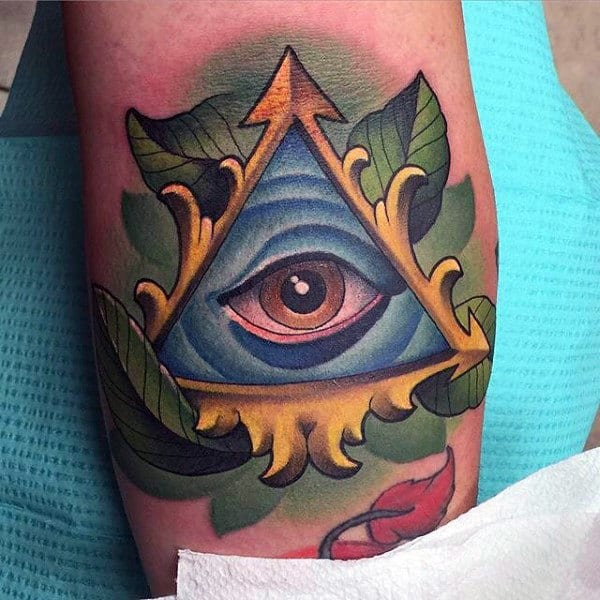 Mens Forearms Triangle Purple Eye Tattoo Green Leaves