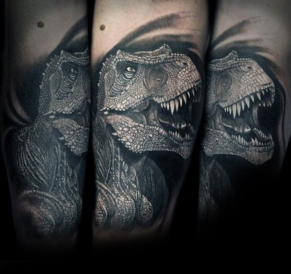 Mens Forearms Well Detailed Grey Dinosaur Tattoos