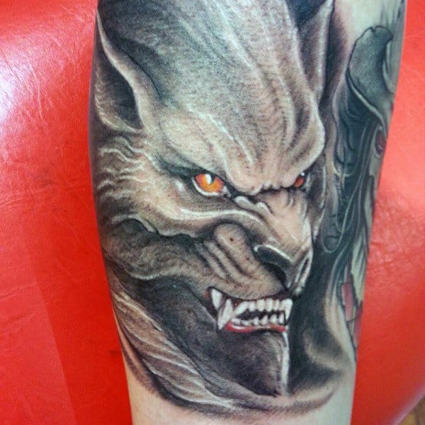 Mens Forearms Werewolf Head Tattoo With Sharp Teeth