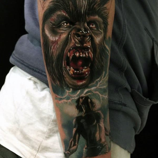 Mens Forearms Werwolf With Bloody Fangs Tattoo