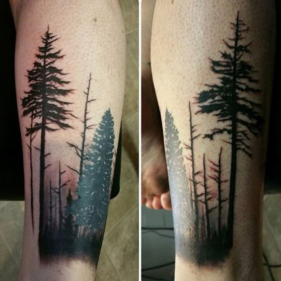 Mens Forest Forearm Tree Tattoo Designs