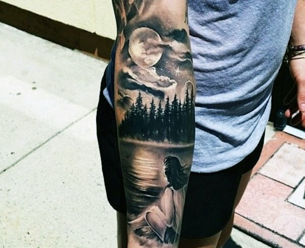 Mens Forest Moon Sky Forearm Sleeve Tattoo Design Ideas