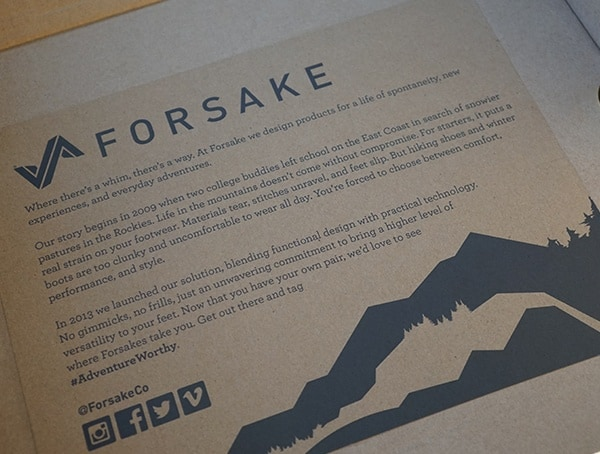 Mens Forsake Trail Boots Shoe Box Detail