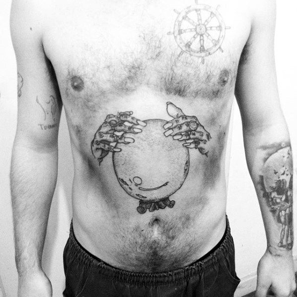 Mens Fortune Teller Hands Crystal Ball Tattoo Ideas On Lower Chest