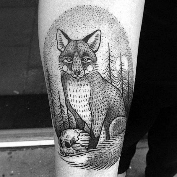 Mens Fox Skull Tattoo Design Inspiration