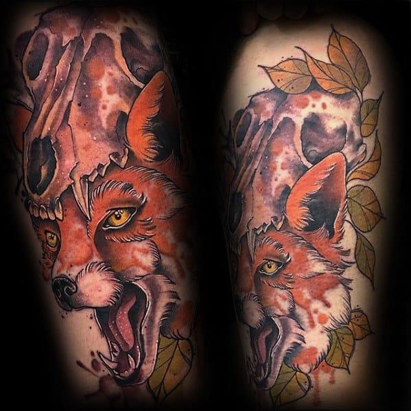 Mens Fox Skull Tattoo Ideas