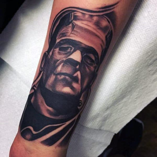 Mens Frankenstein Portrait Tattoo On Forearms