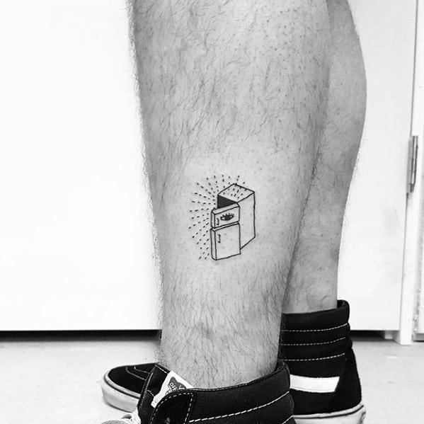 Mens Fridge With Sun Rays Simple Leg Tattoo