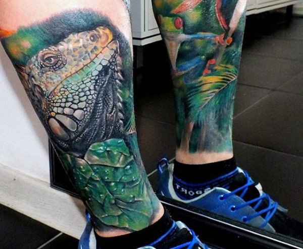 Mens Frog Hanging From Leaf Leg Sleeve Tattoos