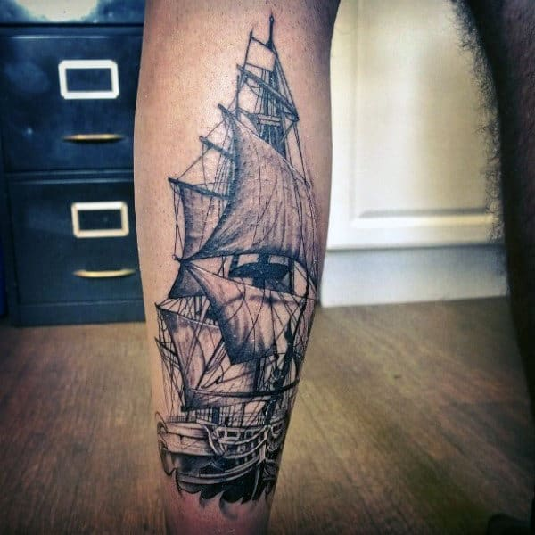 Ship Men's Front Calf Tattoos