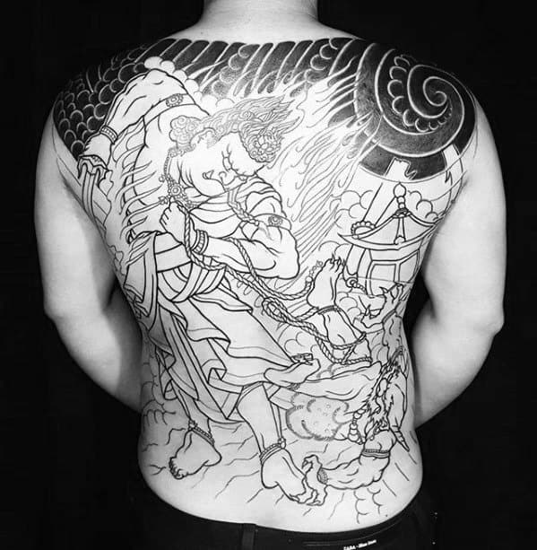 Mens Fudo Myoo Tattoo Design Back Inspiration