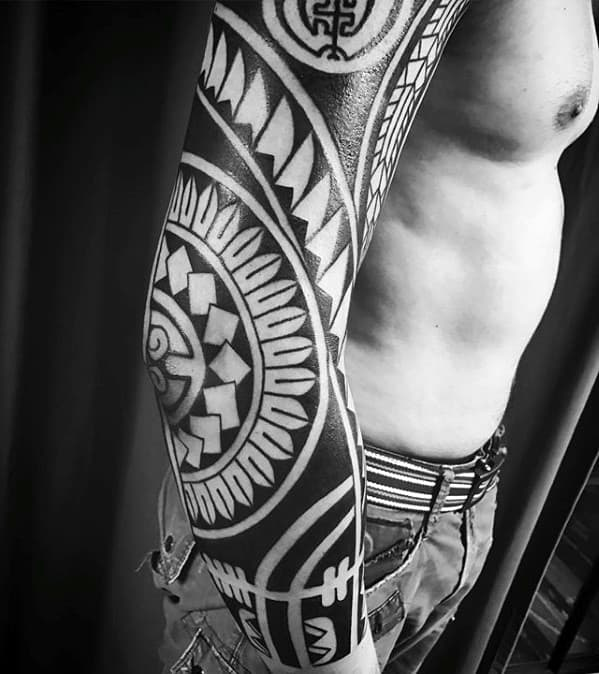 Mens Ful Arm Sleeve Tattoo With Awesome Tribal Design