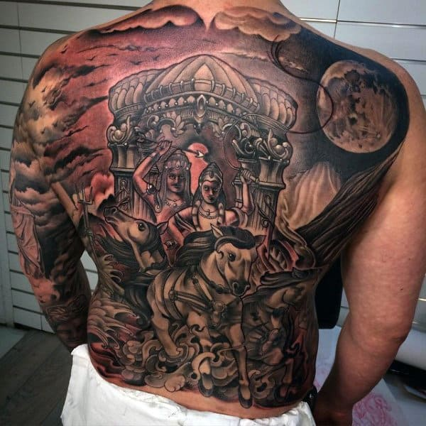 Mens Ful Back Interesting Tattoo Of Ancient King And Queen On A Horse Tattoos