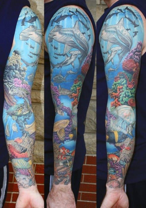 Mens Full Arm Ocean Themed Sleeve Tattoo Designs