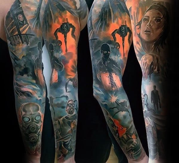 Mens Full Arm Sleeve Awesome Gamer Tattoo Ideas