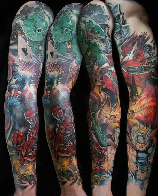Mens Full Arm Superhero Marvel Themed Tattoo Sleeve