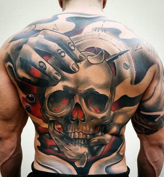 Mens Full Back 1986 Hands Holding Skull Tattoo