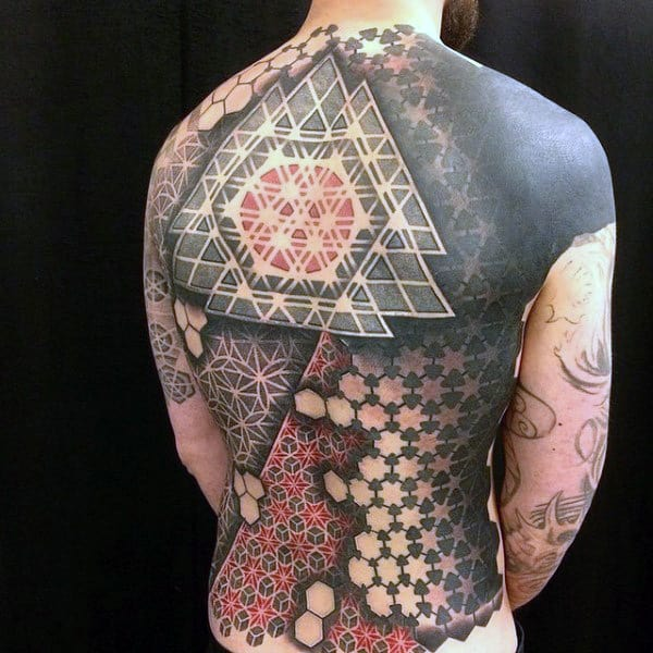 1e54f69a960dd Mens Full Back 3D Mandala Patterns With Cubes And Hexagons Tattoo