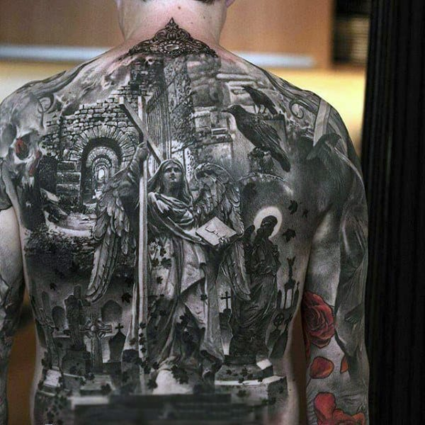 Mens Full Back Amazing Black And White Tattoo Of Roman Era