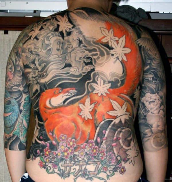 Mens Full Back Amazing Orange Fox Tattoo