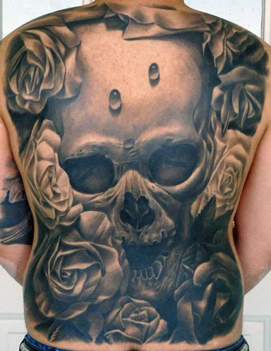 Mens Full Back Black And Grey Skull And Rose Tattoo