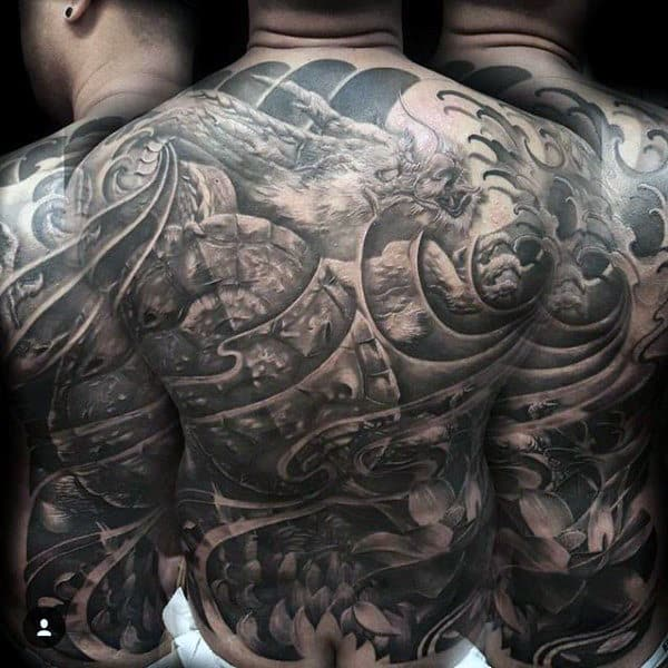 Mens Full Back Cool Dusty Grey Tattoo