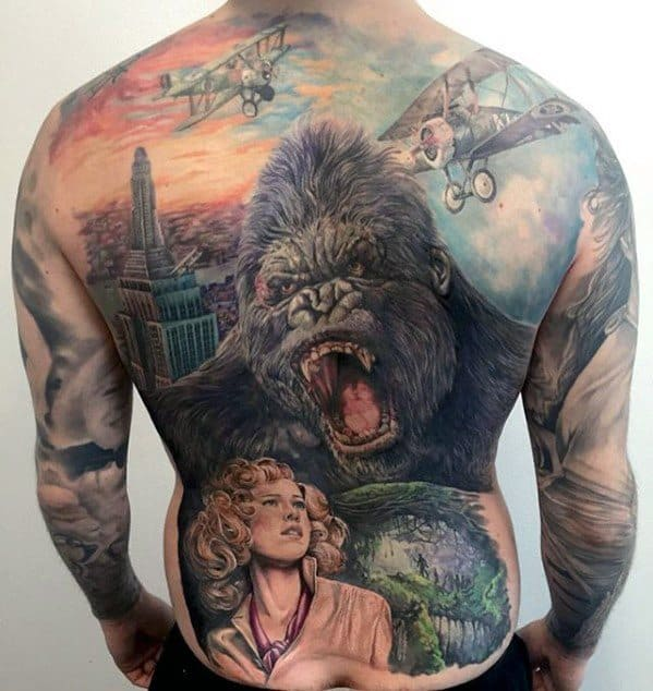 Mens Full Back Cool King Kong Tattoo Ideas