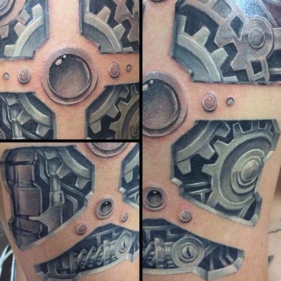 Mens Full Back Creative Steampunk Tattoo