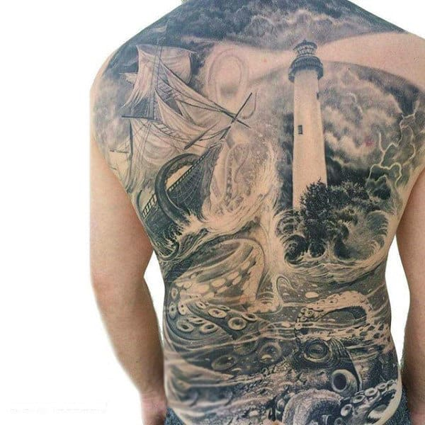 Mens Full Back Dusty Lighthouse Under Water Life And Struggling Ship Tattoo