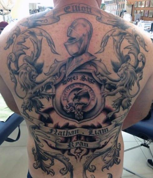Mens Full Back Family Crest Tattoo