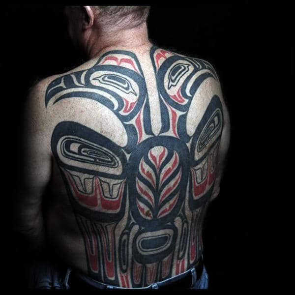 Mens Full Back Fantastic Haida Tattoo