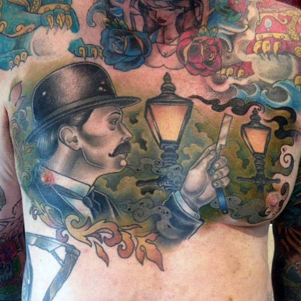 Mens Full Back Fantastic Neo Traditonal Tattoo