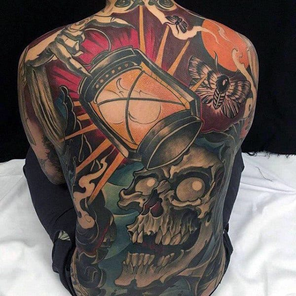 Mens Full Back Flaming Lantern Banging Skull Tattoo