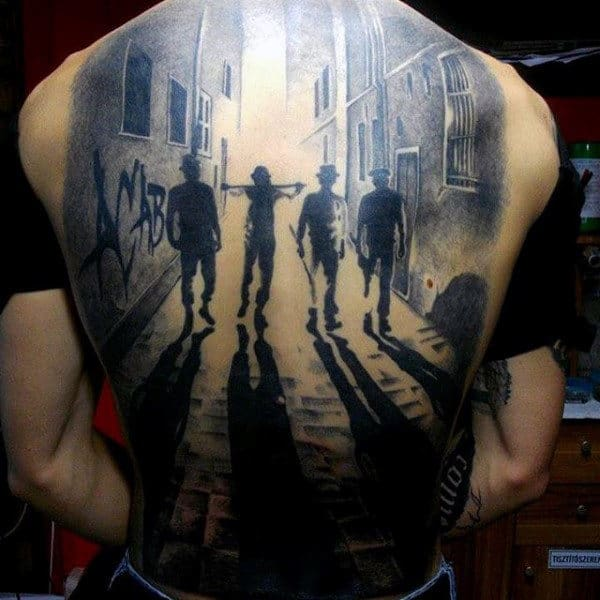 Mens Full Back Four Friends On A Lane Shadow Effect Tattoo