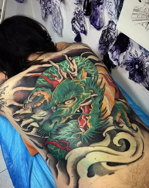 Mens Full Back Gorgeous Green Chinese Dragon Tattoo