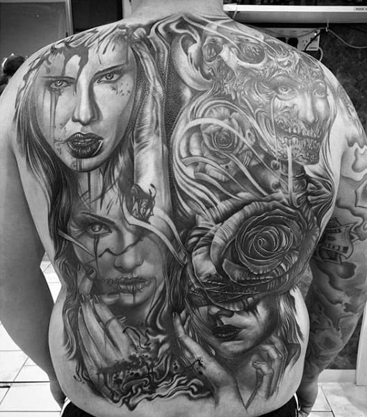 Mens Full Back Grey Bloody Women And Rose Tattoo