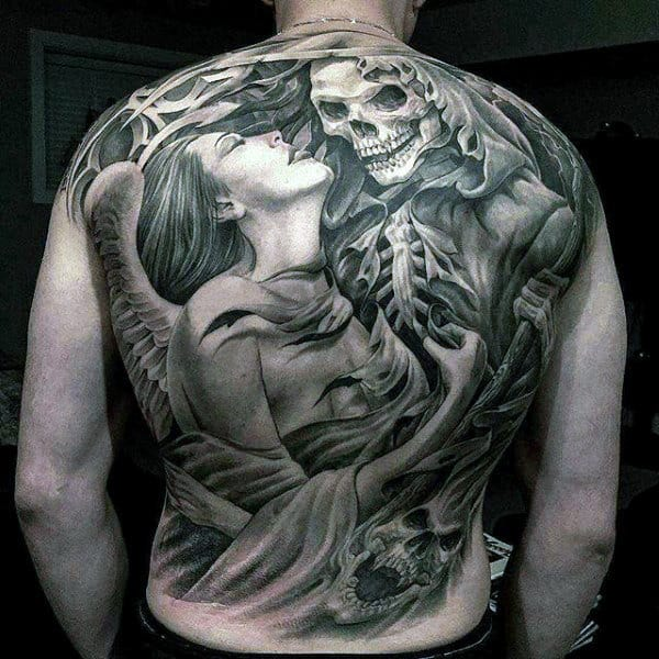 Mens Full Back Grey Ink Passionate Lady And Skeleton Tattoo