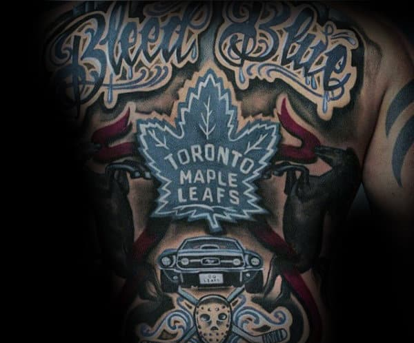 Mens Full Back Hockey Themed Toronto Maple Leafs Tattoo Design