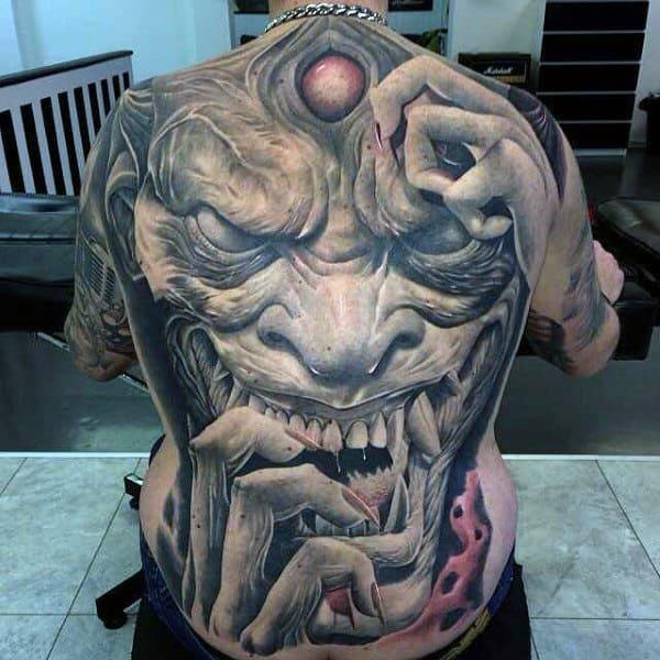 Mens Full Back Horrendous Ogre Tattoo