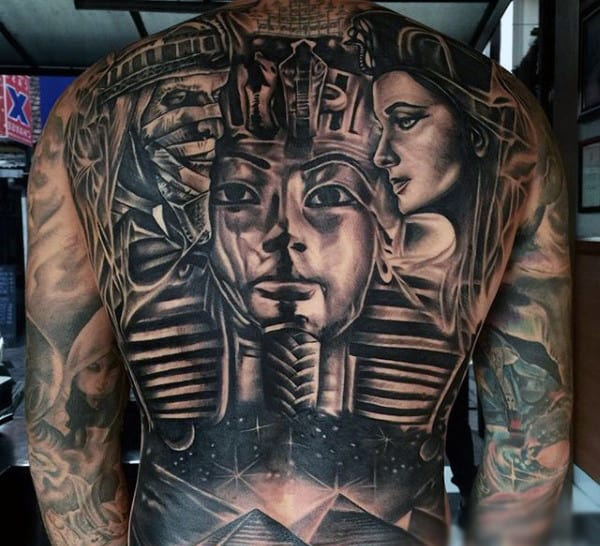 Mens Full Back Huge Pharaoh And Sparkling Pyramids Tattoo