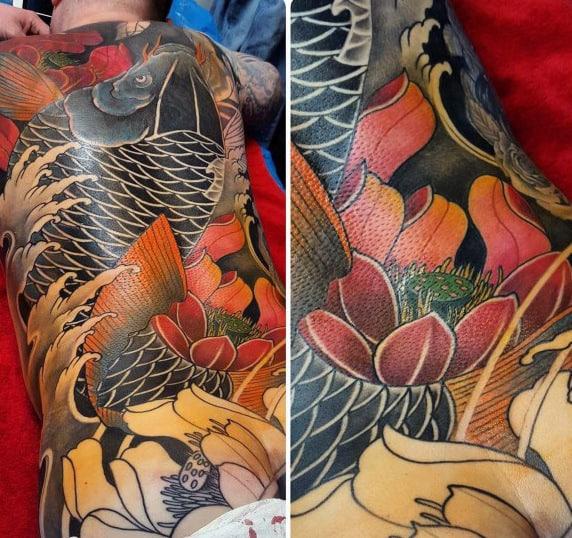 Mens Full Back Japanese Koi Fish Lotus Flower Tattoo Designs