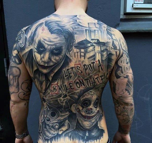Mens Full Back Joker Themed Tattoo Designs