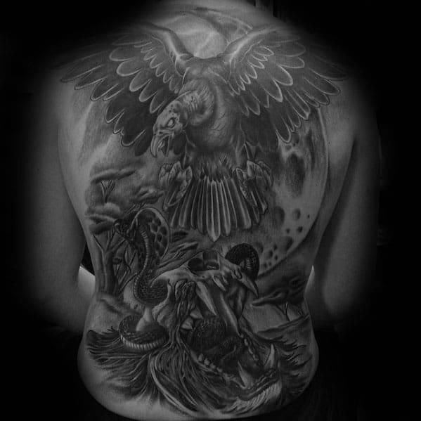 Mens Full Back Lion Skull Vulture Tattoos