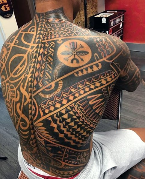 Mens Full Back Lovely Jet Black Egyptian Patterns Tattoo