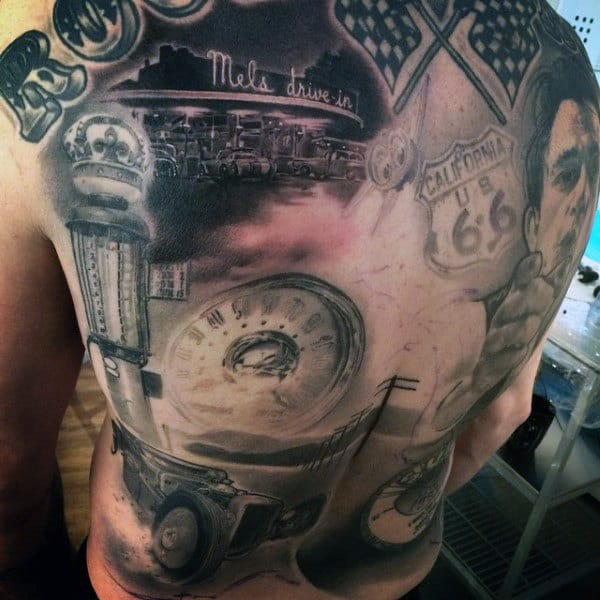 Mens Full Back Majestic Hot Rod Drive In Tattoo