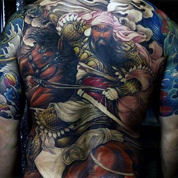 Mens Full Back Middle Eastern Warrior On Mighty Brown Horse Tattoo