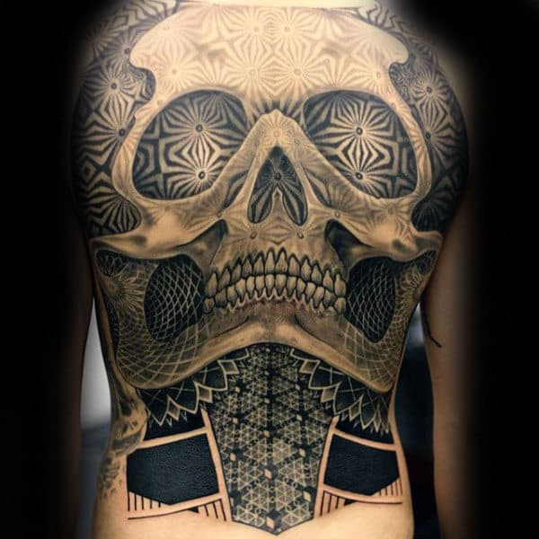 Mens Full Back Patterned Skull Tattoo