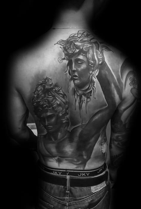 Mens Full Back Realistic 3d Perseus Tattoo Design Ideas