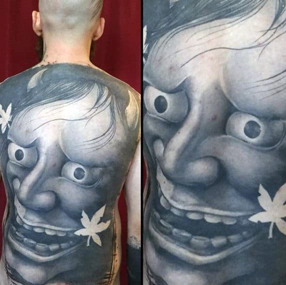 Mens Full Back Realistic Mask Crazy Full Back Tattoo Design Ideas