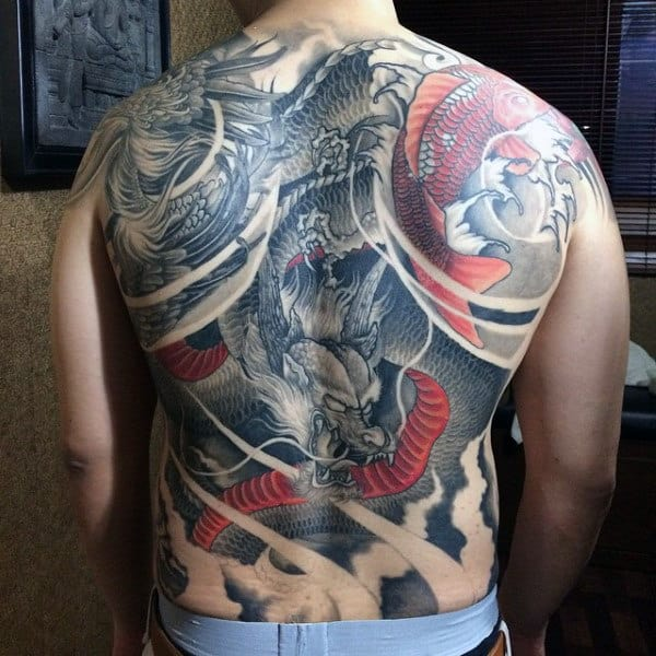Mens Full Back Red And Grey Brutal Flying Dragon And Lightening Tattoo